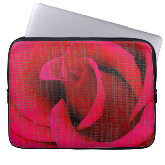 Röd rosblomma laptop sleeve