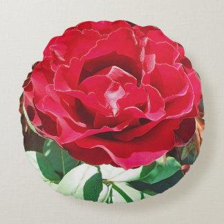 Röd rosblomma rund kudde