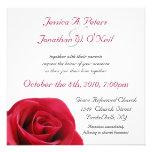 Röd rosbröllopinbjudan anpassade tillkännagivande
