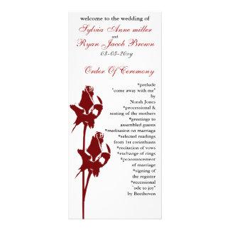 röd rosbröllopsprogram anpassningsbara rackkort