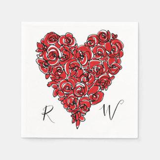 Röd roshjärta Mongram Papper Servett