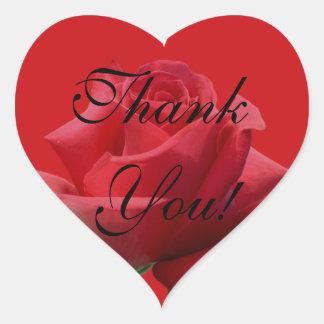Röd roshjärta tackar dig klistermärken