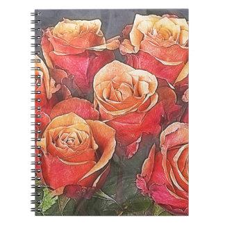 Röd rosillustration anteckningsbok