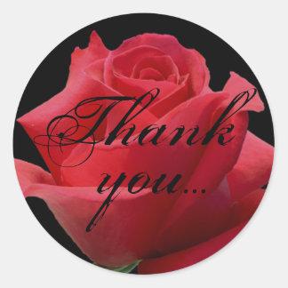 Röd rosklistermärken… tackar dig runt klistermärke