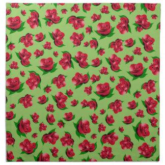 Röd rosmönster - grön servettuppsättning tygservett