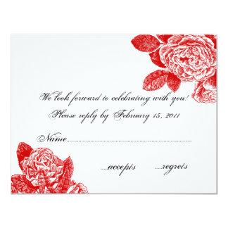 Röd rosOSA 10,8 X 14 Cm Inbjudningskort