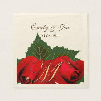 Röd rosvintage bröllop servett