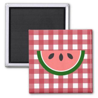 Röd rutig vattenmelonmagnet magnet