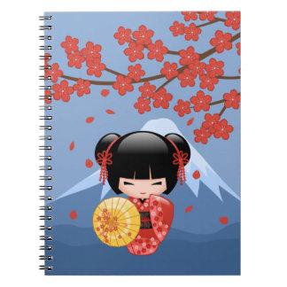 Röd Sakura Kokeshi docka - gullig Geishaflicka Anteckningsbok