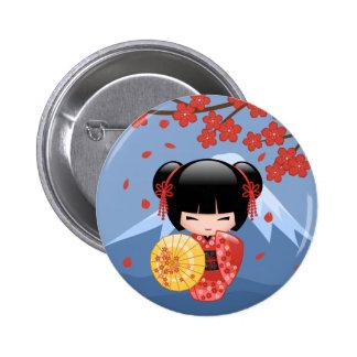 Röd Sakura Kokeshi docka - gullig Geishaflicka Standard Knapp Rund 5.7 Cm