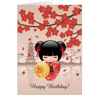 Röd Sakura Kokeshi docka, gullig Geishafödelsedag Hälsningskort