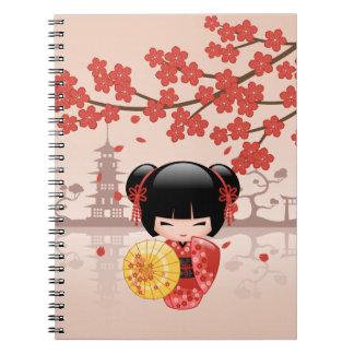 Röd Sakura Kokeshi docka - japansk Geisha Anteckningsbok