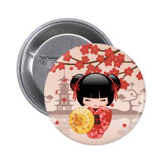 Röd Sakura Kokeshi docka - japansk Geisha Standard Knapp Rund 5.7 Cm