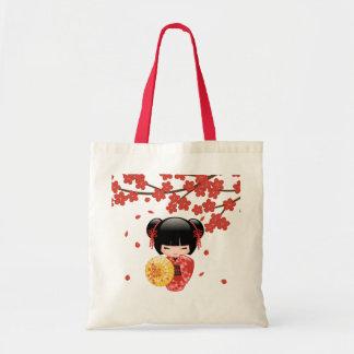 Röd Sakura Kokeshi docka - japansk Geisha Tygkasse