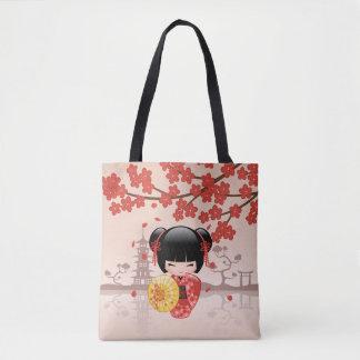 Röd Sakura Kokeshi docka - japansk Geishaflicka Tygkasse