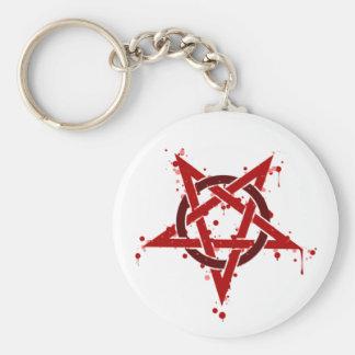 Röd Satanic prickig Pentagram Rund Nyckelring