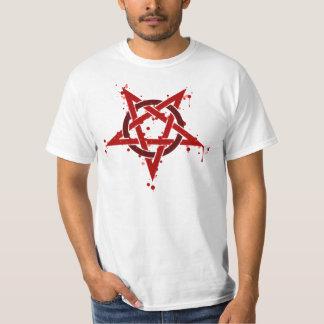 Röd Satanic prickig Pentagram T Shirt