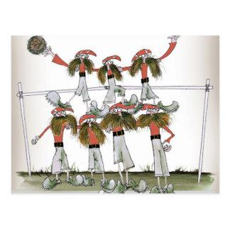 röd sats för fotbollförsvarare vykort