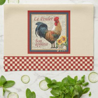 Röd schackbräde för fransk landköktupp kökshandduk