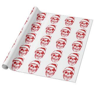 Röd skalle för jul i linne för Santa hattlyx Presentpapper