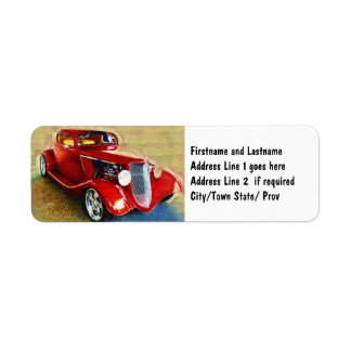 Röd skönhet - klassikersamlare bil returadress etikett