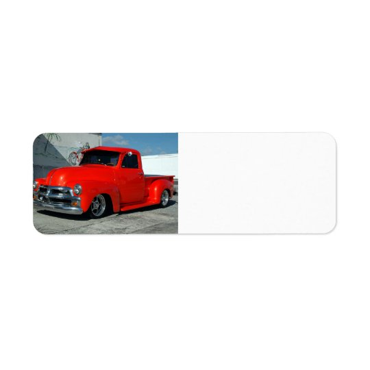 Röd skräddarsy pickup lastbil returadress etikett