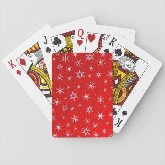 Röd snöflingor spel kort