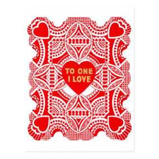 Röd snörevalentin vykort