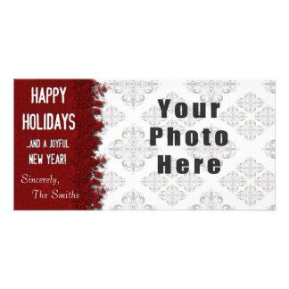 Röd Snowflake för glad helg Fotokort