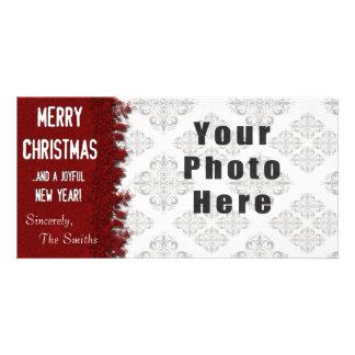 Röd Snowflake för god jul Fotokort