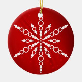 Röd Snowflakejulprydnad Rund Julgransprydnad I Keramik