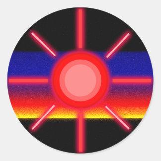 röd sol runt klistermärke