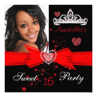 Röd sötsak foto för 16 födelsedag diamantTiara Fyrkantigt 13,3 Cm Inbjudningskort