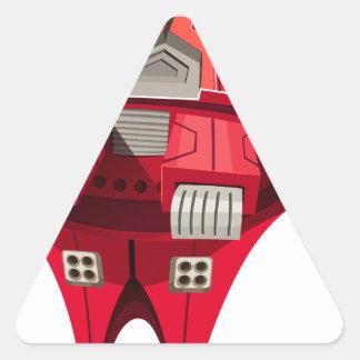 Röd spaceship med motorn överst triangelformat klistermärke