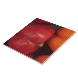 Röd spansk peppar kakelplatta