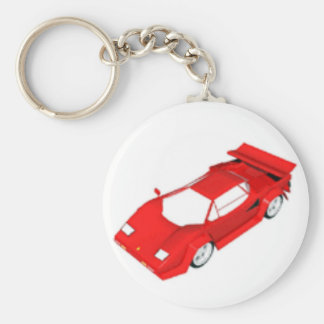 Röd sportbil rund nyckelring