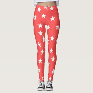 Röd Starry Starry damasker Leggings
