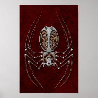 Röd Steampunk spindel på djupt - Poster