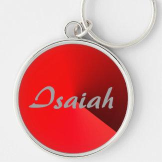 Röd stil silver pläterade Keychain för Isaiah Rund Silverfärgad Nyckelring