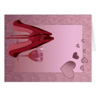 Röd stilett för firande och rosa hjärtor jumbo kort
