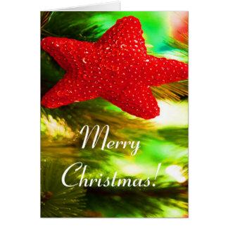 Röd stjärna för god jul mig hälsningskort