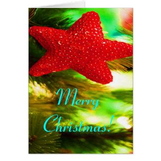 Röd stjärna II för god jul Hälsningskort