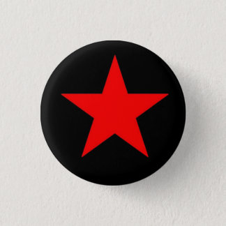 Röd stjärna mini knapp rund 3.2 cm