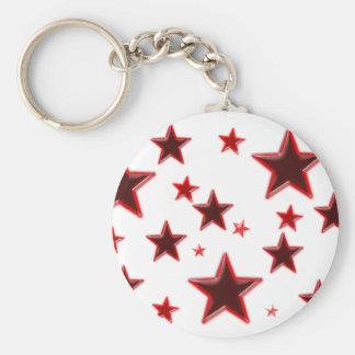 Röd stjärna rund nyckelring