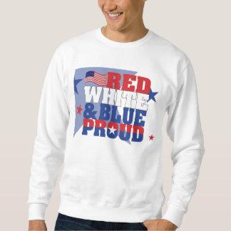 Röd stolt grundläggande tröja för vit & för blått