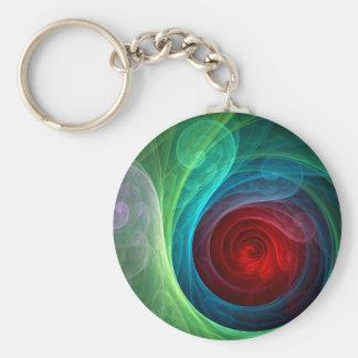 Röd stormabstraktkonst Keychain Rund Nyckelring