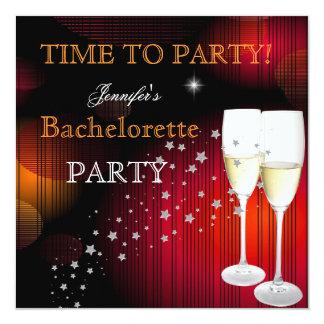 Röd svart champagne för Bachelorette party Fyrkantigt 13,3 Cm Inbjudningskort