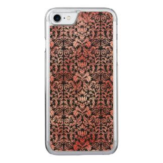 Röd svart damast för gotisk ro carved iPhone 7 skal