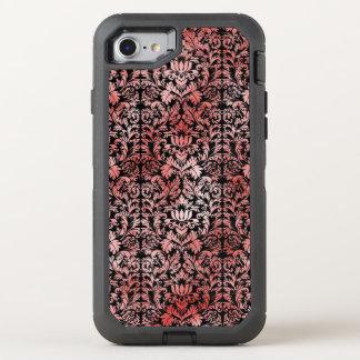 Röd svart damast för gotisk ro OtterBox defender iPhone 7 skal