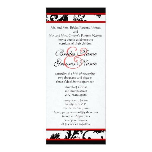 Röd svart damast för vit 9x4 virvlar runt 10,2 x 23,5 cm inbjudningskort